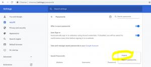 chrome password